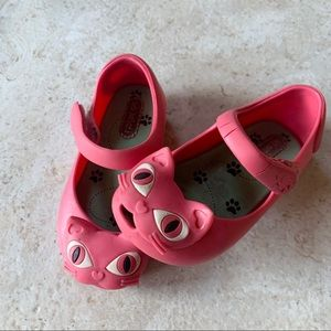 Mini Melissa Pink Cat Jelly Mary Jane Shoes 7 Girl